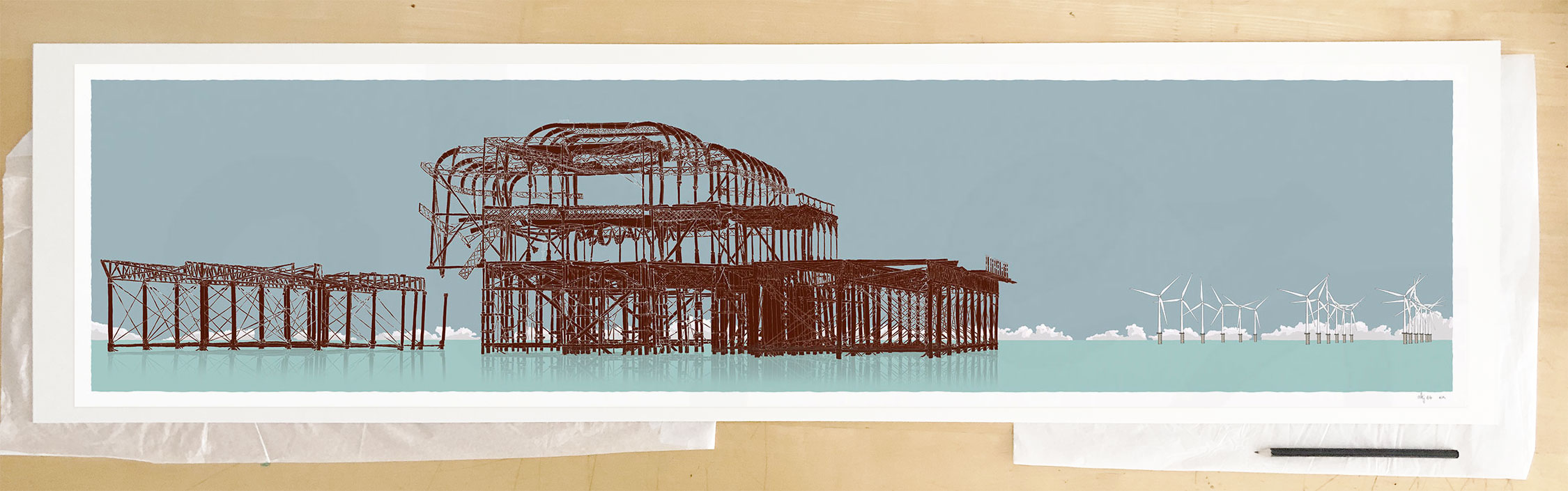 Fine art print by UK artist alej ez titled West Pier Rampion Wind Farm Rusted Irons