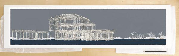 Fine art print by UK artist alej ez titled West Pier Rampion Wind Farm Silver Grey
