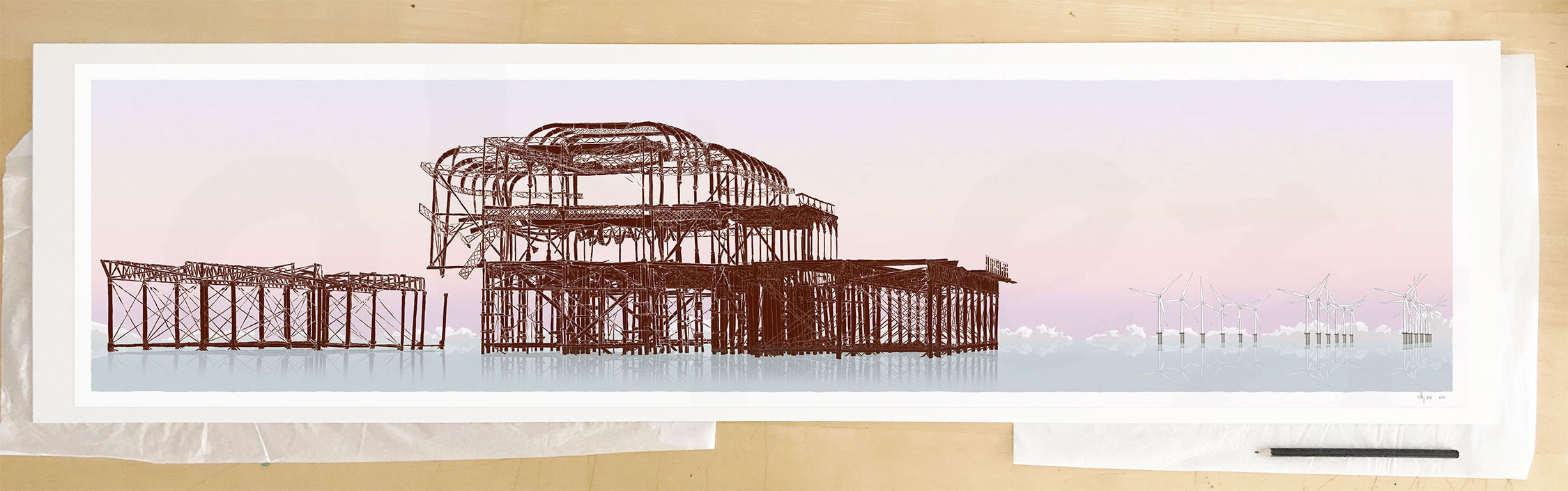 Fine art print by UK artist alej ez titled West Pier Rampion Wind Farm Eventide