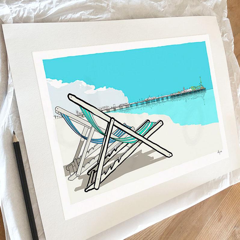 Fine art print by artist alej ez titled Deck Chairs Brighton Pier