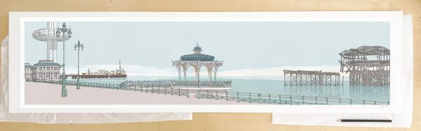 Fine art print by UK artist alej ez titled I360, Palace Pier, The Bandstand and West Pier Pebble Beach
