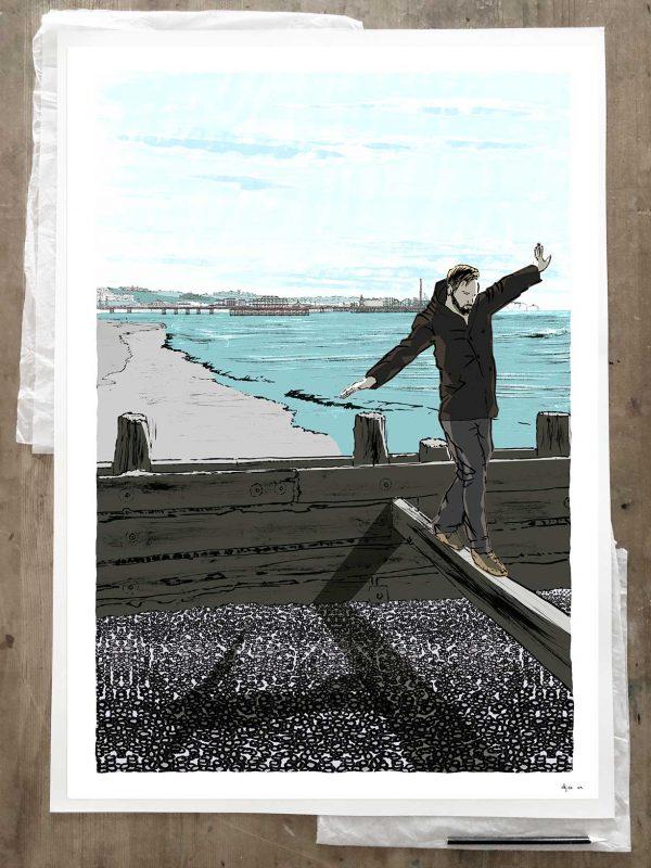 Art print titled A winter walk along Brighton Beach by artist alej ez