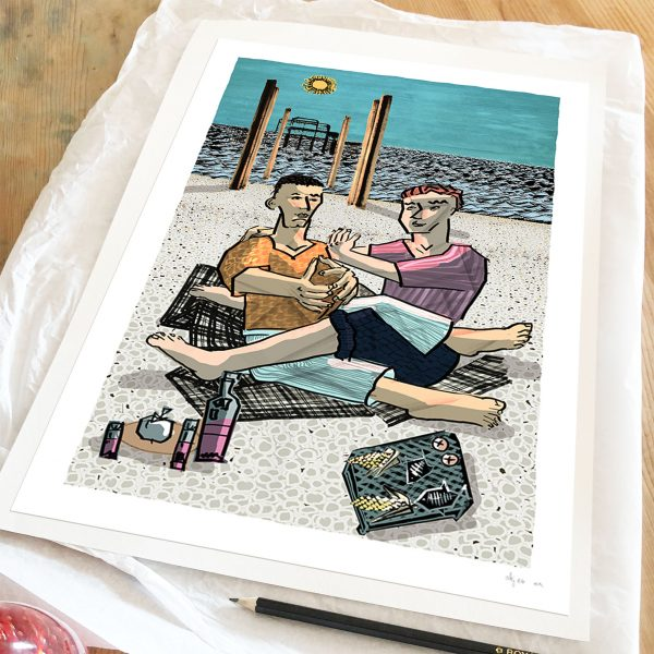 Print titled The Barbeque on Brighton Beach by artist alej ez
