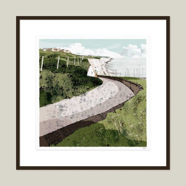Framed art print Roedean School Brighton Chalk Cliffs Summer