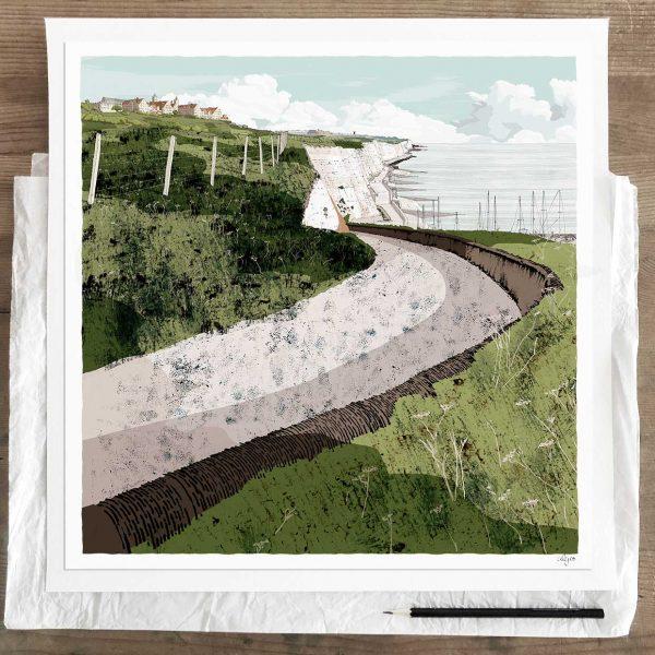 Limited edition art print by artist alej ez titled Roedean School Brighton Chalk Cliffs Summer