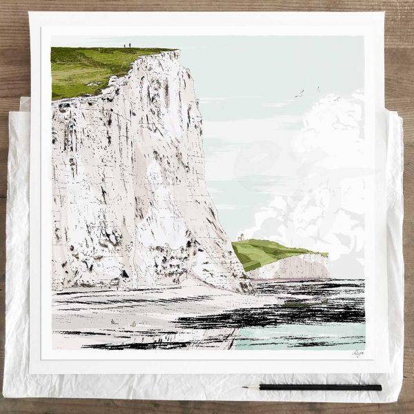 Limited edition art print by artist alej ez titled Seven Sisters Walk Cuckmere Haven Summer