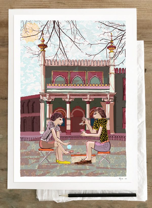 Art print titled Tea for Two at Pavilion Gardens by Brighton Museum by artist alej ez