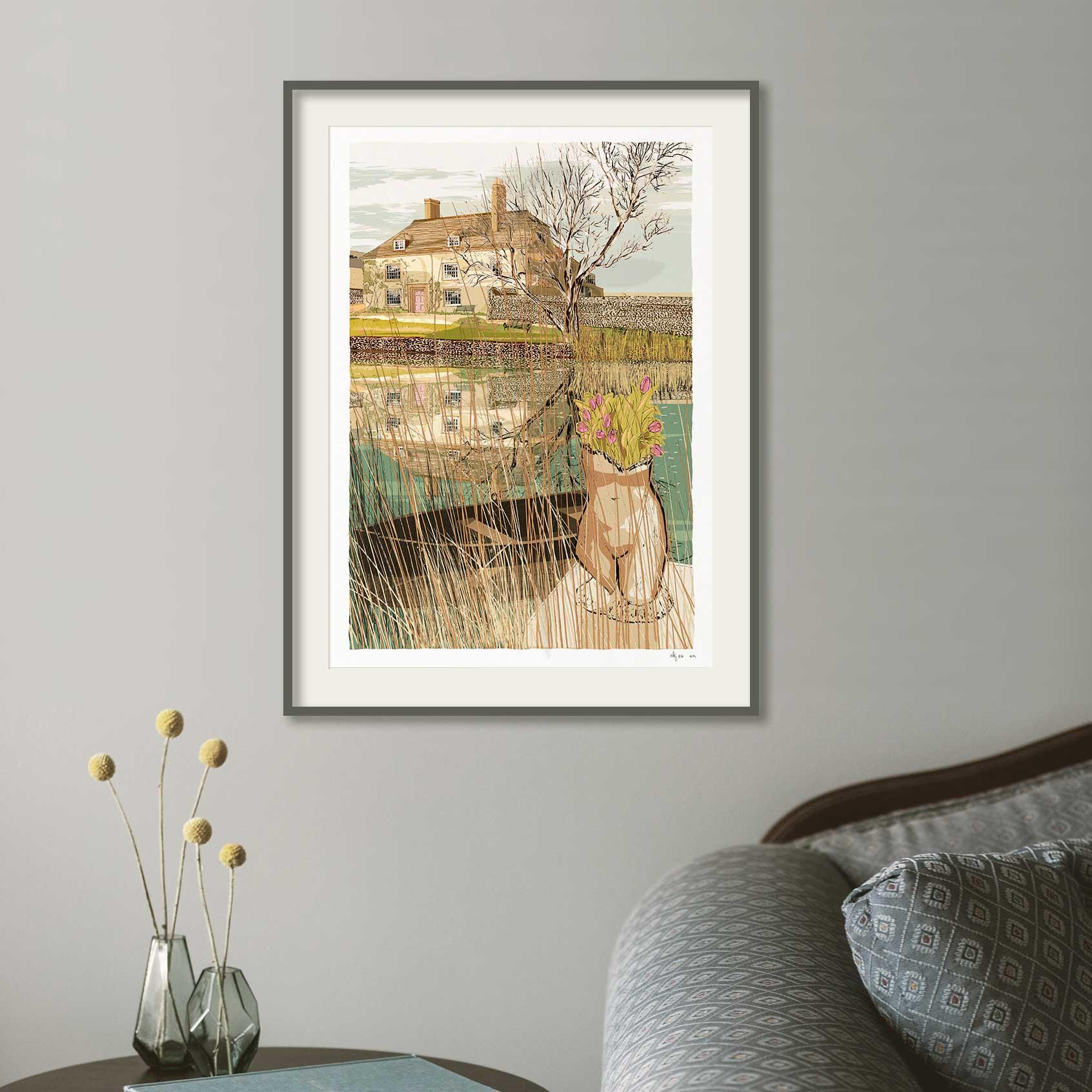Framed art print by artist alej ez titled The Pond at Charsleston Bloomsbury