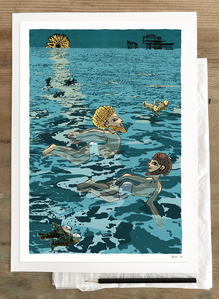 Art print by artist alej ez titled Two swimmers by the West Pier