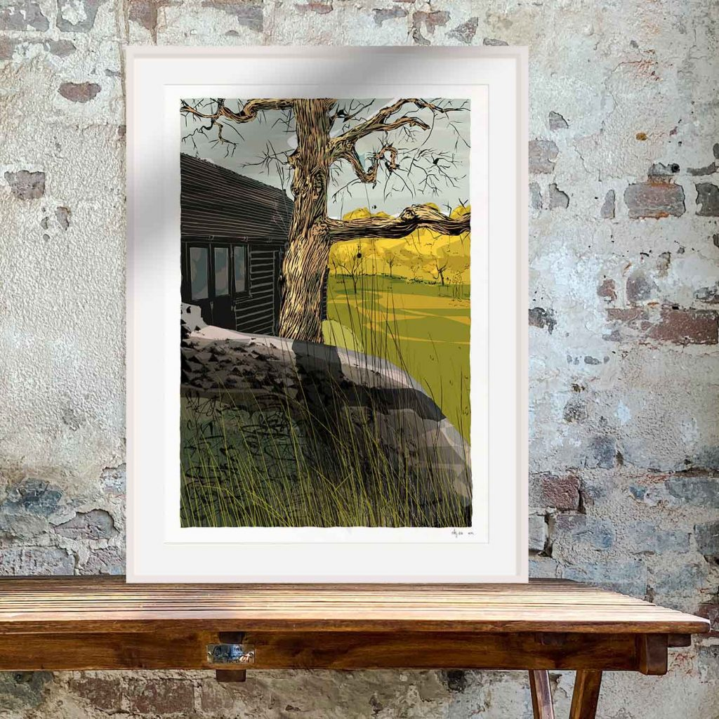 Framed art print by artist alej ez titled Virginia Woolf's writing lodge at Monks House Rodmell