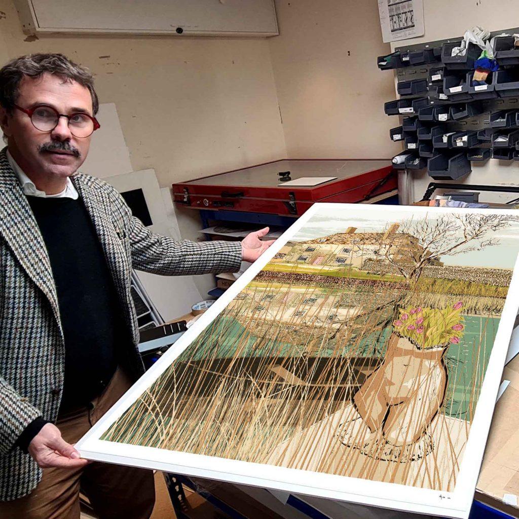 Art print by artist alej ez titled The Pond at Charsleston Bloomsbury