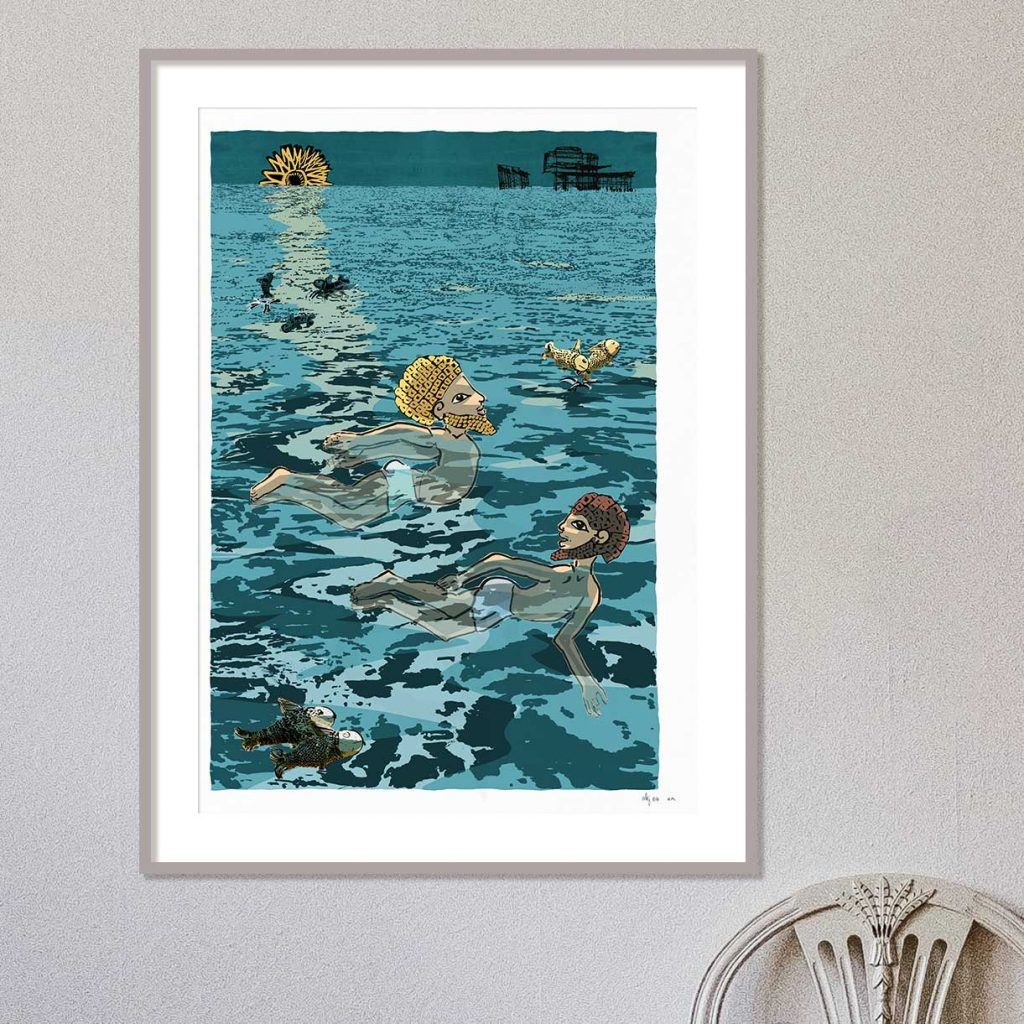 Framed art print by artist alej ez titled Two swimmers by the West Pier