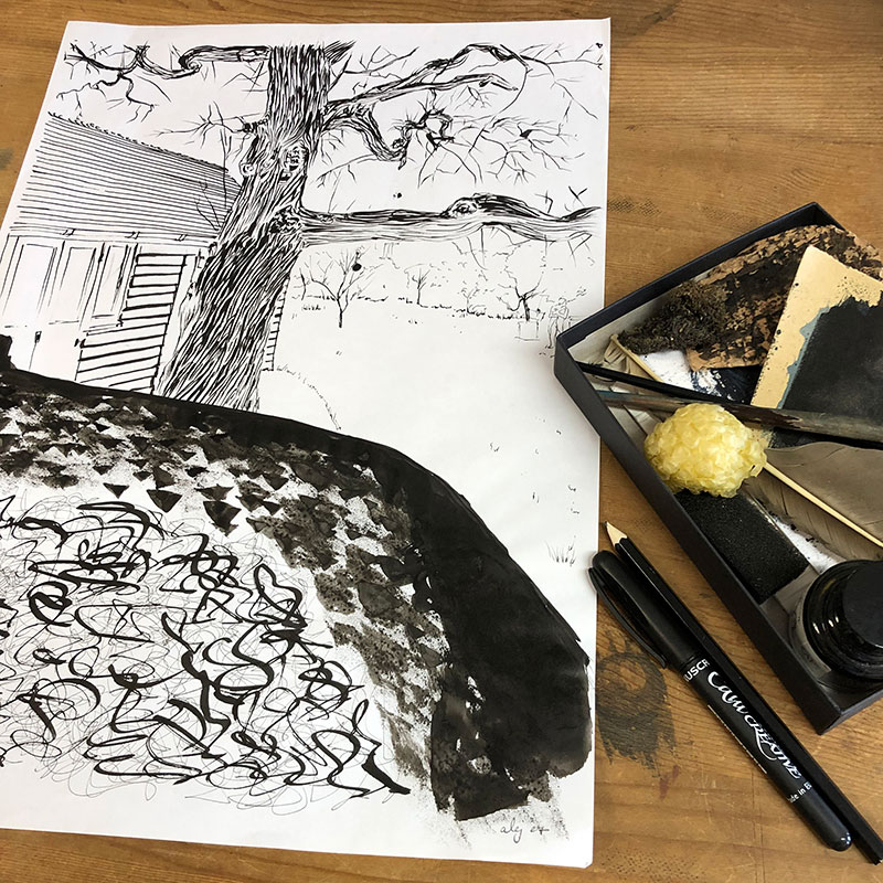 Base drawing for print by artist alej ez titled The Pond at Charsleston Bloomsbury