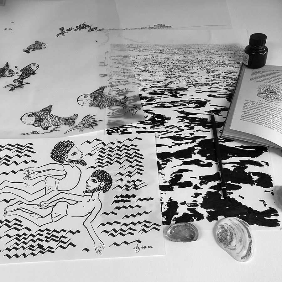 Base ink drawing for art print titled Two swimmers by the West Pier