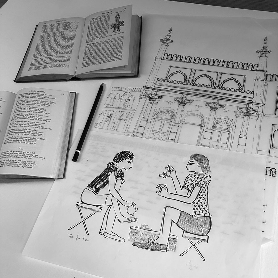 Base ink drawing for art print titled Tea for Two at Pavilion Gardens by Brighton Museum