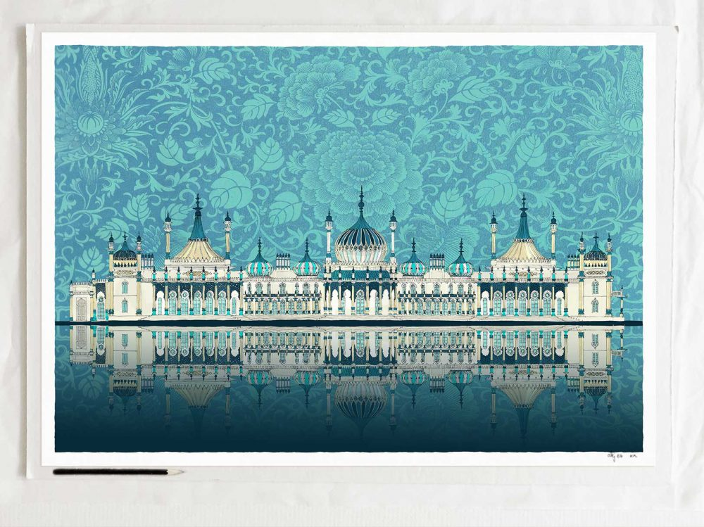 art print titled Brighton Royal Pavilion Chinese Dragons and Dolphins Crystal Blue by artist alej ez