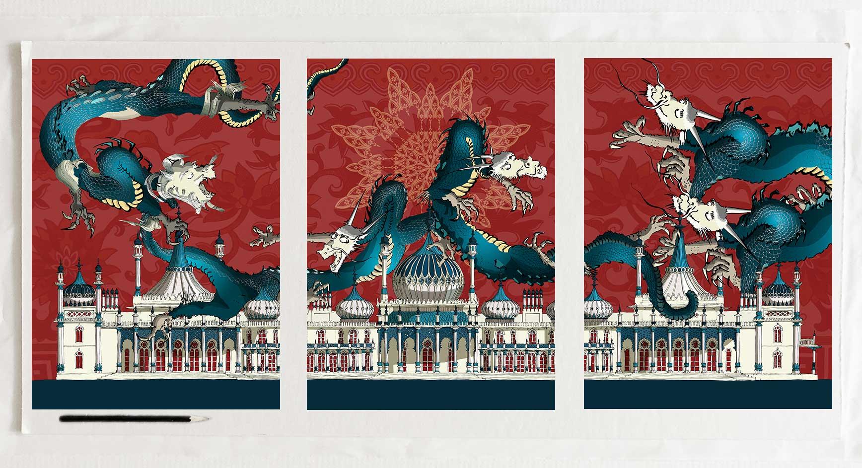 Art print by artist alej ez titled Dragon artwork Brighton Pavilion Crimson and Blue Samson Triptych