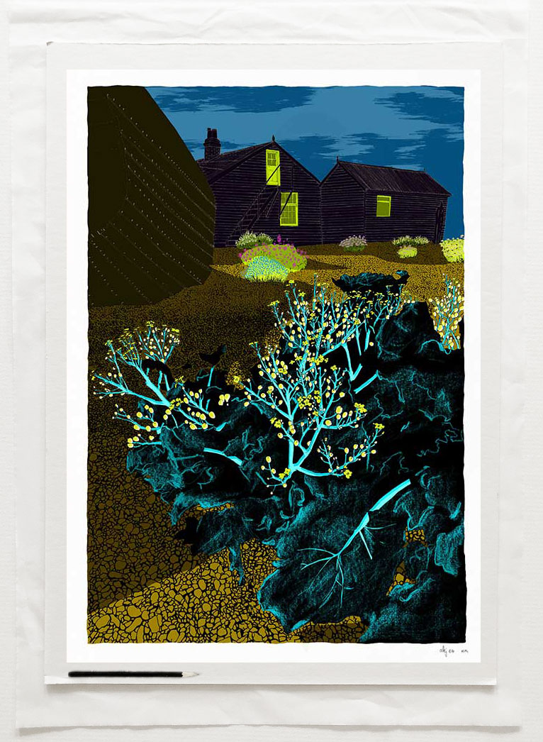 Fine art print by UK artist alej ez titled Derek Jarman Garden Prospect Cottage