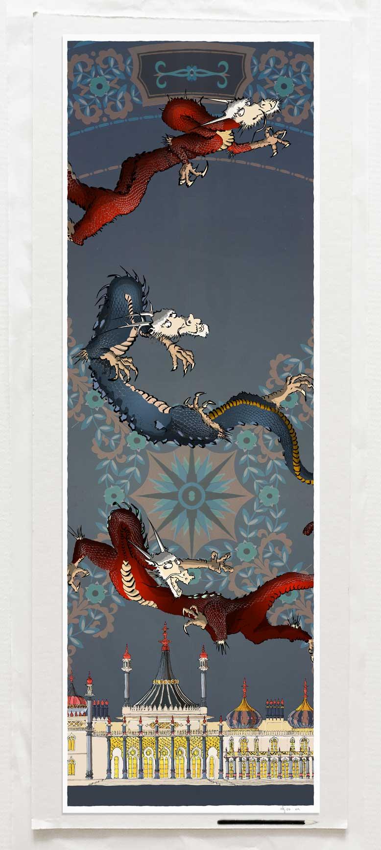 Art print by artist alej ez titled Dragon Picture Brighton Pavilion Orient Nights Zou
