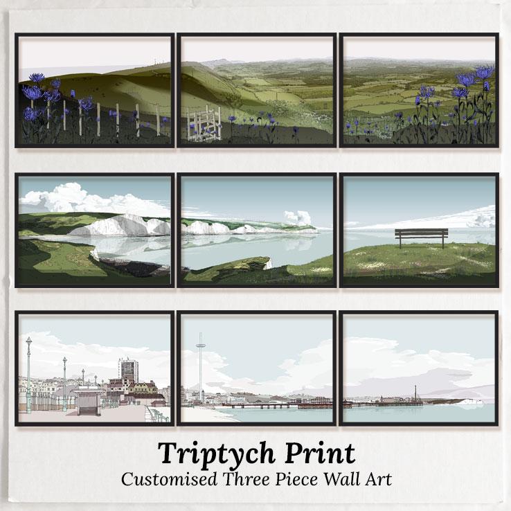 Triptych Print. Customised Three Piece Wall Art
