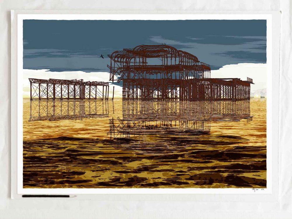 art print titledBrighton West Pier Rampion Wind Farm Gold Sea by artist alej ez