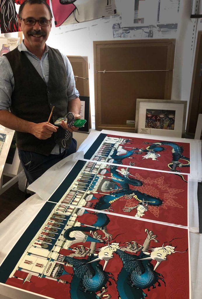 Dragon artwork Brighton Pavilion Crimson and Blue Samson Triptych signing at the framers